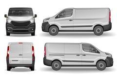 Ładunku pojazdu przód, strona i tylni widok, Srebny doręczeniowy mini samochód dostawczy Doręczeniowego Van Mockup dla Reklamować fotografia stock