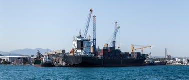 Ładunku port morski z żurawiami Fotografia Stock
