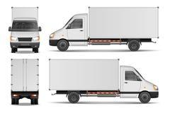 Ładunku samochód dostawczy odizolowywający na bielu Miasto doręczeniowej ciężarówki handlowy szablon Biały pojazdu mockup również Zdjęcie Stock