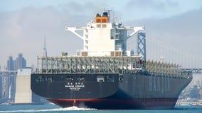 Ładunku statek Hanjin GRECJA odjeżdża port Oakland, pustego Zdjęcie Stock