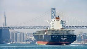 Ładunku statek Hanjin GRECJA odjeżdża port Oakland, pustego Obrazy Royalty Free