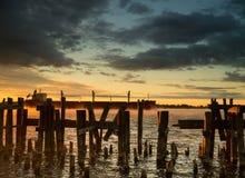 Ładunku Statku Freighter Wschód słońca Zmierzch II Obraz Royalty Free