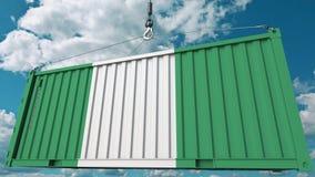 Ładunku zbiornik z flaga Nigeria Nigeryjski import lub eksport odnosić sie konceptualnego 3D rendering ilustracja wektor