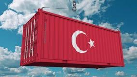 Ładunku zbiornik z flaga Turcja Turecczyzna eksport lub import odnosić sie konceptualną 3D animację zdjęcie wideo