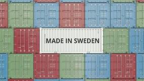 Ładunku zbiornik z ROBIĆ W SZWECJA tekscie Szwedzi importy lub eksport powiązana 3D animacja royalty ilustracja