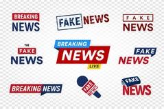 Łamać i sfałszowany wiadomość loga szablon na przejrzystym tle Nagłówka TV znaczek Wiadomości ze świata ilustraci wektorowy set ilustracji