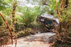 Łamać puszka pojazd po powodzi Zdjęcie Stock