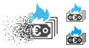 Łamająca Kropkowanego Halftone oparzenie banknotów Euro ikona royalty ilustracja