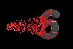 Łamający zniweczony szybki sporty abecadło liczba 6 Zdruzgotana pośpieszna bieżna chrzcielnica 3d odpłacają się odosobniony na cz ilustracji