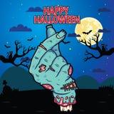 Łamana żywy trup ręka robi podpisowi jak ono Z Halloweenowym tłem Wektorowa klamerki sztuki ilustracja z prostym gradientem ilustracja wektor