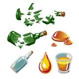 Łamana butelka, kropla, alkohol, szkło odizolowywający fotografia stock