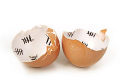 łamana jajeczna skorupa Fotografia Royalty Free