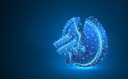 ?amana Porcelanowa Juan Mennicza Neonowa 3d ilustracja Poligonalny Wektorowy biznes, pieni?dze, niesta?y finanse, trzask, ?amaj?c royalty ilustracja