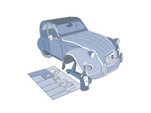 Łamana rocznika Citroen 2CV wektoru ilustracja royalty ilustracja