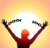 łamane łańcuchów dziewczyny ręki podnosili Zdjęcia Royalty Free