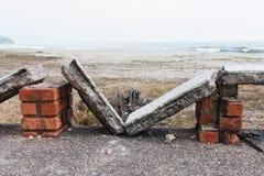 Łamane kamień ławki Fotografia Royalty Free