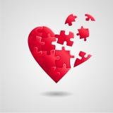 Łamany łamigłówki serce Zdjęcie Stock