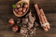 Łamany czekoladowy bar, hazelnut i cynamon na drewnianym tle, zdjęcie stock