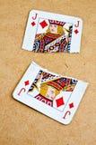 łamany karciany pokład starzy bawić się dwa Zdjęcie Stock