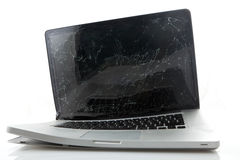Łamany laptop fotografia stock