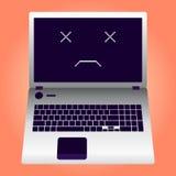 Łamany laptop pękający ekran Ilustracja Wektor