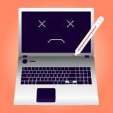 Łamany laptop pękający ekran Royalty Ilustracja