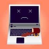 Łamany laptop pękający ekran Ilustracji