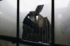 Łamany okno & konwejer - Podpalany Stan Odprasowywający Firma Żadny 7 kopalnia - Adirondack g?ry, Nowy Jork obraz stock