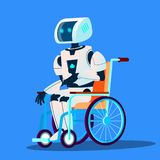 Łamany robota chodzenie W wózka inwalidzkiego wektorze button ręce s push odizolowana początku ilustracyjna kobieta ilustracji