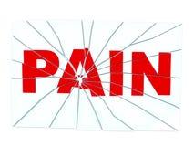 łamany szkła bólu czerwieni tekst Obrazy Stock