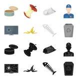 Łamany TV monitor, bananowa łupa, rybi kościec, śmieciarski kosz Śmieci i grata ustalone inkasowe ikony w czerni, kreskówka ilustracji
