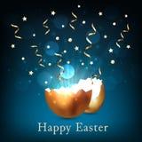 Łamany złoty Easter jajko z światłem i confetti na zmroku - błękitny tło Bokeh ?wiecenie od krakingowej z?otej skorupy i ?wiat?o ilustracji