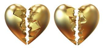 łamany złoty serce Fotografia Royalty Free