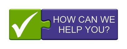 Łamigłówka guzik: Dlaczego możemy pomagać was? ilustracja wektor