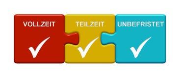 3 łamigłówka guzika pokazuje Pełny Etat, na pół etatu i Wieczysta, niemiec ilustracji