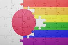 Łamigłówka z flaga państowowa Japan i homoseksualista zaznaczamy Zdjęcia Royalty Free