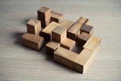 Łamigłówki drewniana gra Obrazy Stock