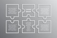 Łamigłówki Infographics kwadrata Sześć kroków łamigłówka ilustracja wektor