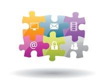 Łamigłówki integracja z internet ochroną Fotografia Stock