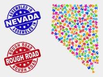 Łamigłówki Nevada stanu mapa i Drapający Gromadzić i Szorstkie drogi znaczka foki ilustracji