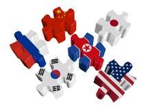 Łamigłówki - przyjęcie Opowiada na problemu Północny Korea ilustracja wektor