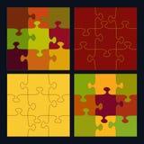 Łamigłówki siatka w jesień kolorach i kawałki ilustracji
