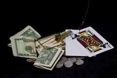 Łapać w pułapkę Na Uprawiać hazard Z Czarnym tłem Obraz Stock