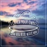 Łapie twój swój dużą błękitną falowego wektoru etykietkę dalej Fotografia Royalty Free