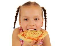 łasowania dziewczyny pizza zdjęcie royalty free