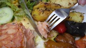Łasowanie łosoś z grulą i warzywami zdjęcie wideo