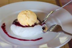 Łasowanie lody deserowa wanilia z dżemem obraz stock