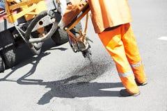 łatań asfaltowi roadworks Fotografia Royalty Free