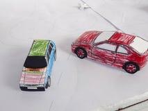 łatwa samochód kreskówka zamienia majcherów koła Obrazy Royalty Free