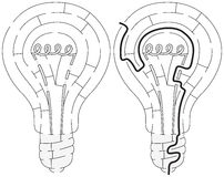 Łatwy żarówka labirynt royalty ilustracja